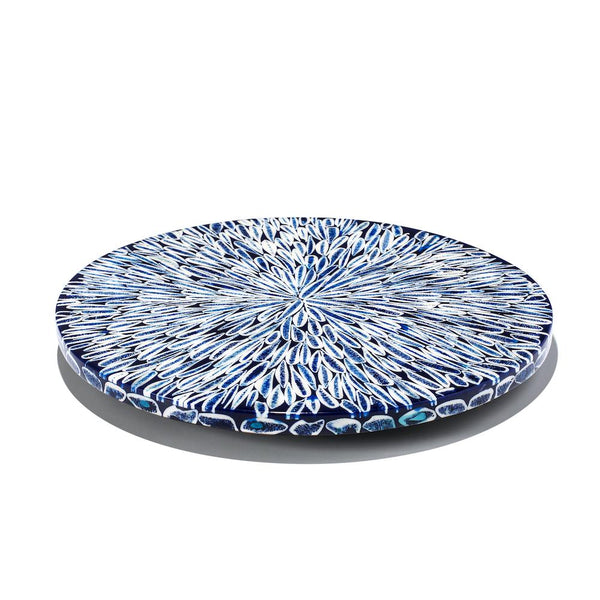 Lazy Susan in Blue Almendro | Revolving Tray at Fig Linens and Home
