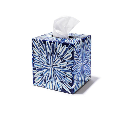 Blue Almendro Tissue Box Cover | Ladorada at Fig Linens