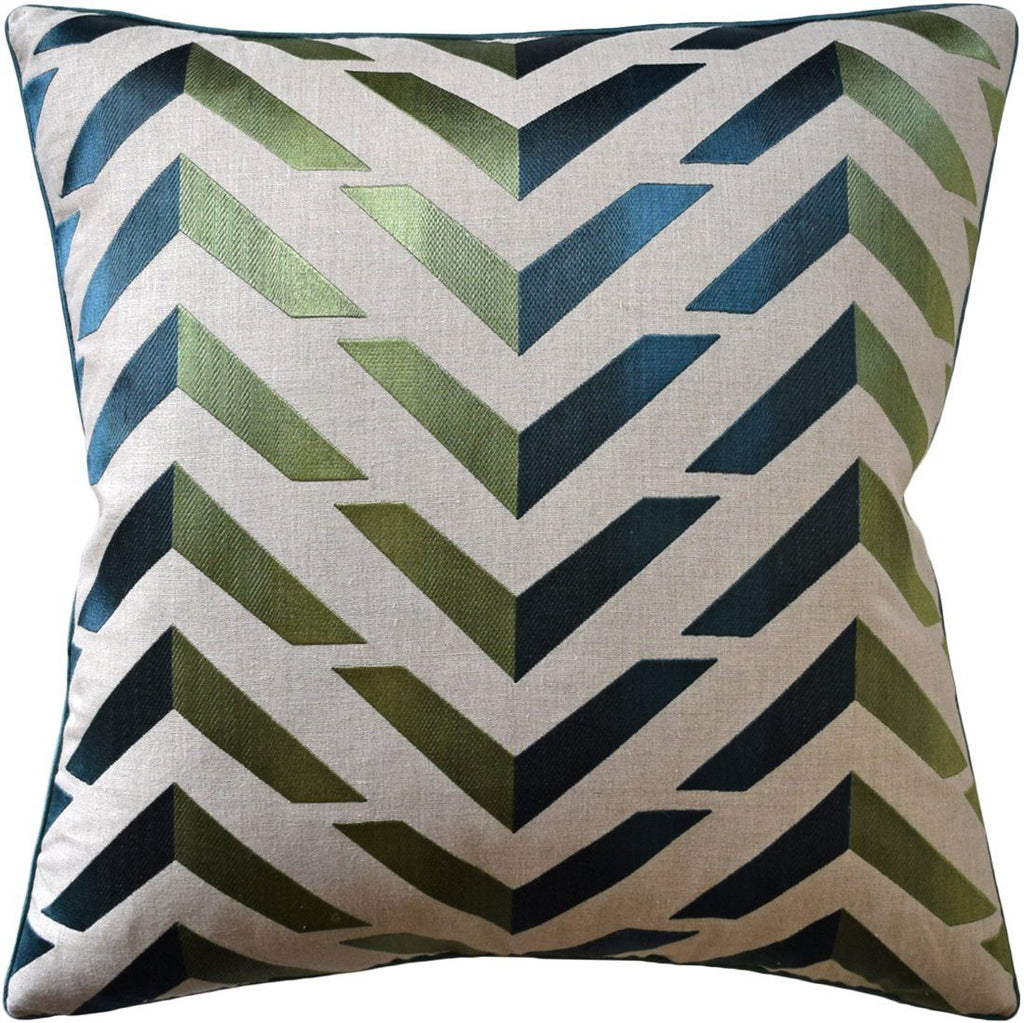 Les Vagues Green and Teal Pillow