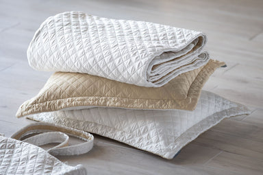 Silk & Sensibility Ivory and Ecru Quilted Coverlets - Lili Alessandra Tote Set