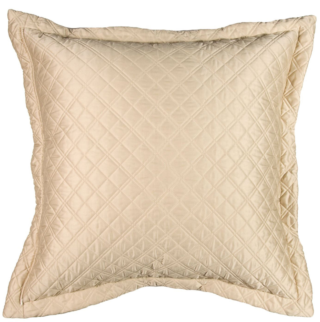 Silk & Sensibility Ivory and Ecru Quilted Coverlets - Lili Alessandra Euro Pillow Reverse - Side B