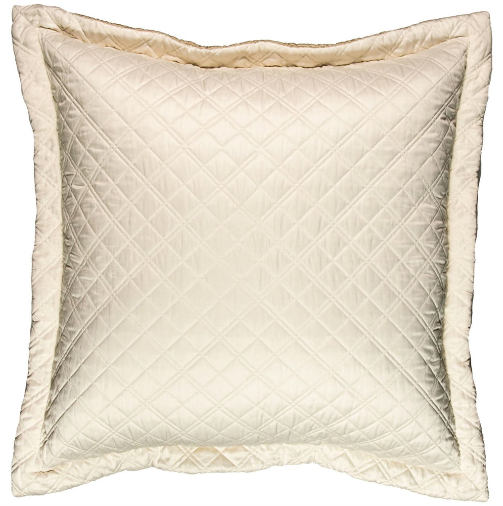Silk & Sensibility Ivory and Ecru Quilted Coverlets - Lili Alessandra Euro Pillow Side A