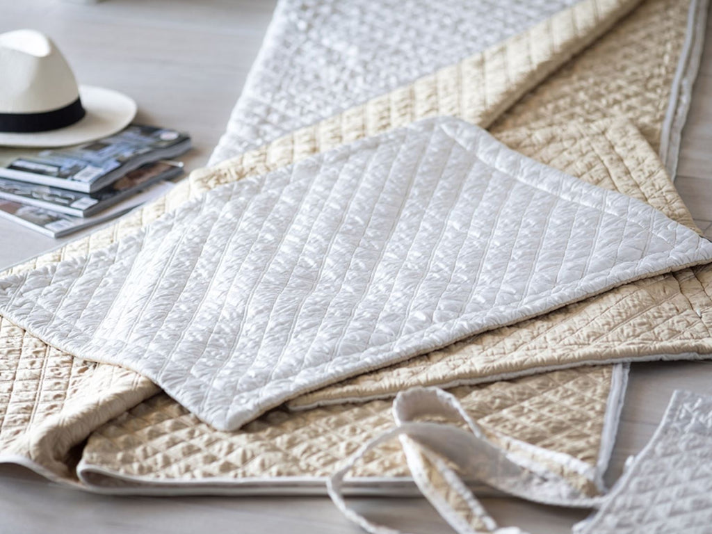 Silk & Sensibility Ivory and Ecru Quilted Tote Sets - Lili Alessandra at Fig Linens