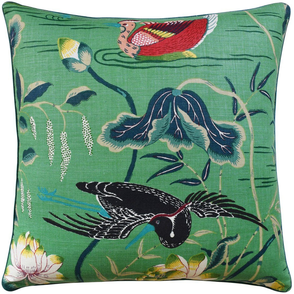 Lotus Garden Jade Pillow | Green Cushions at Fig Linens