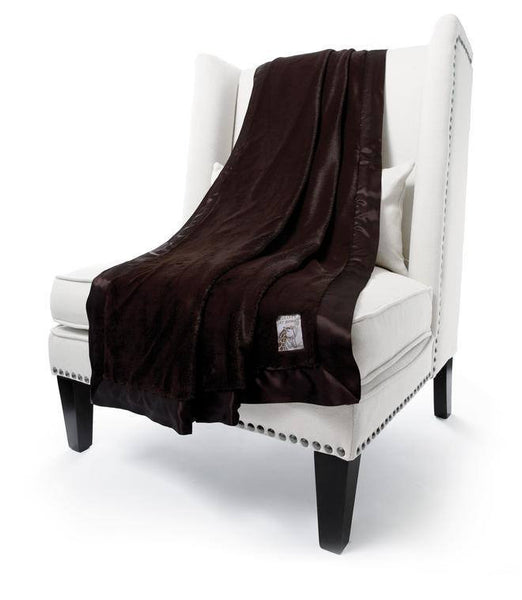 Chocolate luxe throw by little giraffe