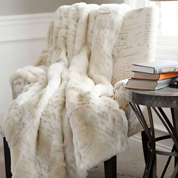 Lynx Limited Edition Faux Fur Throw Blanket by Fabulous Furs Detail