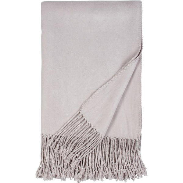 Luxxe Fringe Throw in Dove Grey