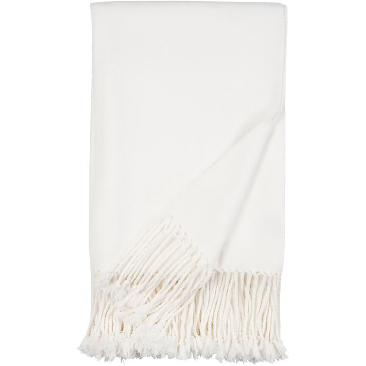 Luxxe Fringe Throw in Ivory