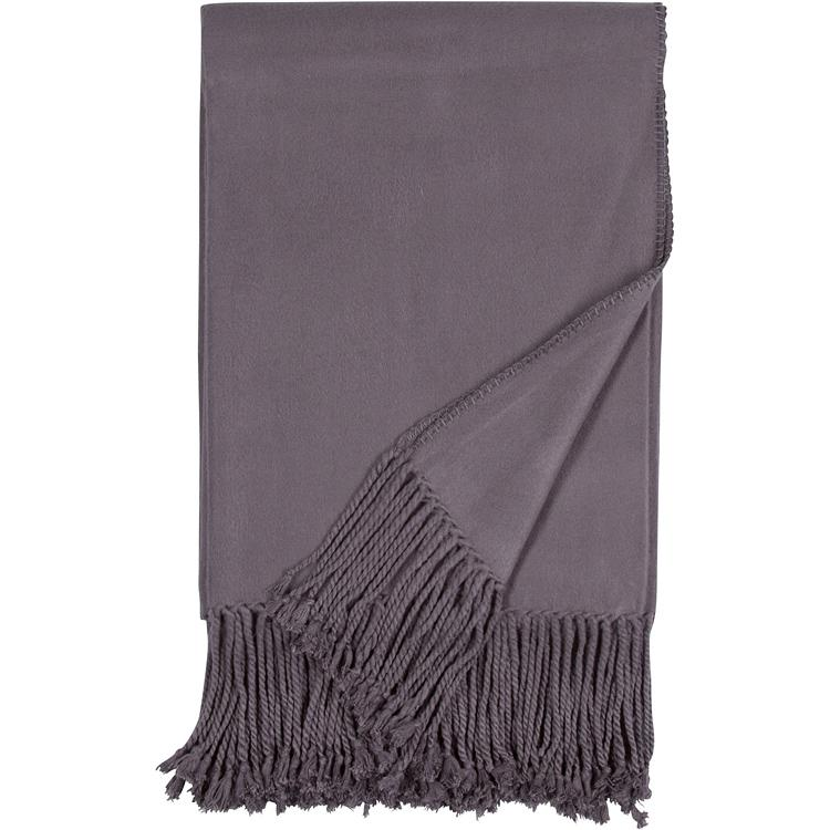 Luxxe Fringe Throw in Steel