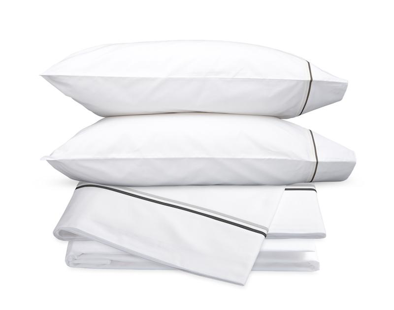 Essex Charcoal Hotel Sheets - Matouk Cotton Percale Sheet Sets