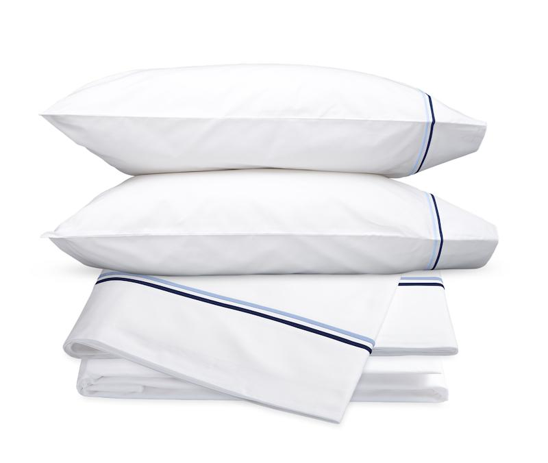 Essex Navy Hotel Sheets - Matouk Cotton Percale Sheet Sets