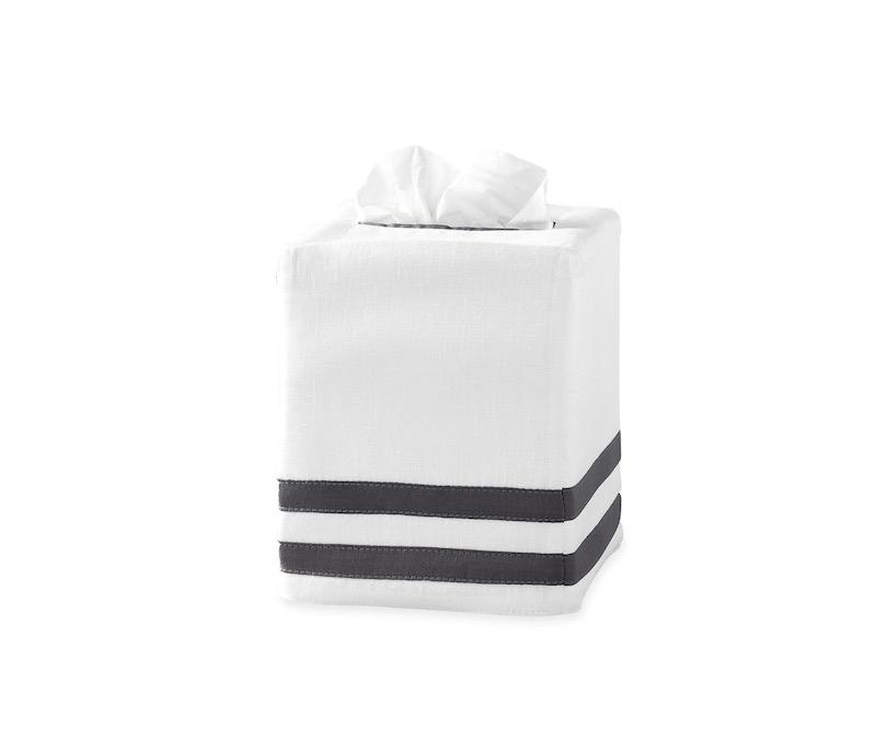 Matouk Allegro Tissue Box Cover in Charcoal | Fig Linens