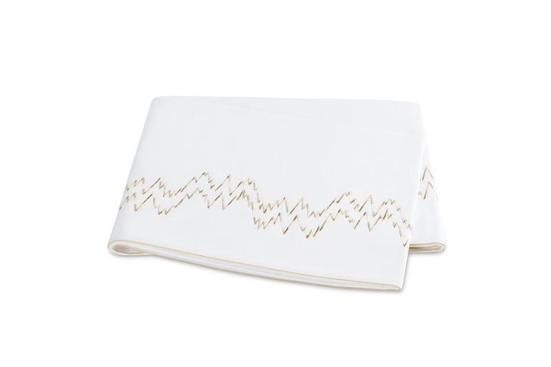 Aries Champagne Flat Sheet | Matouk at Fig Linens