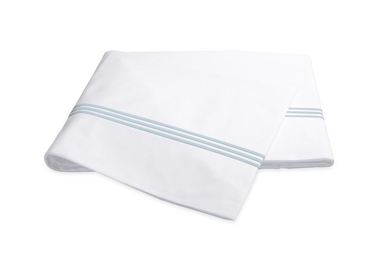 Bel Tempo Blue Flat Sheet | Matouk at Fig Linens