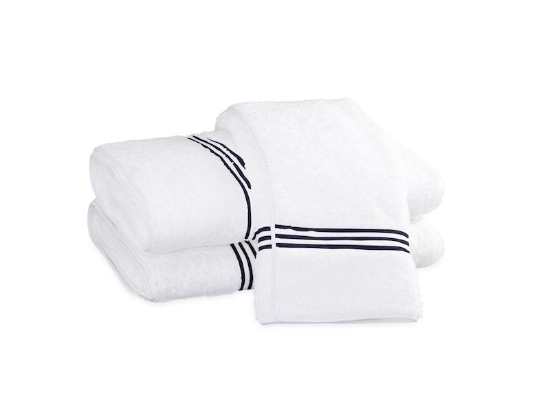 Bel Tempo Navy Bath Towels | Matouk at Fig Linens
