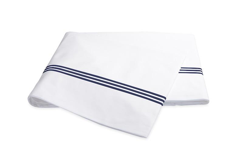 Bel Tempo Navy Blue Flat Sheet | Matouk at Fig Linens