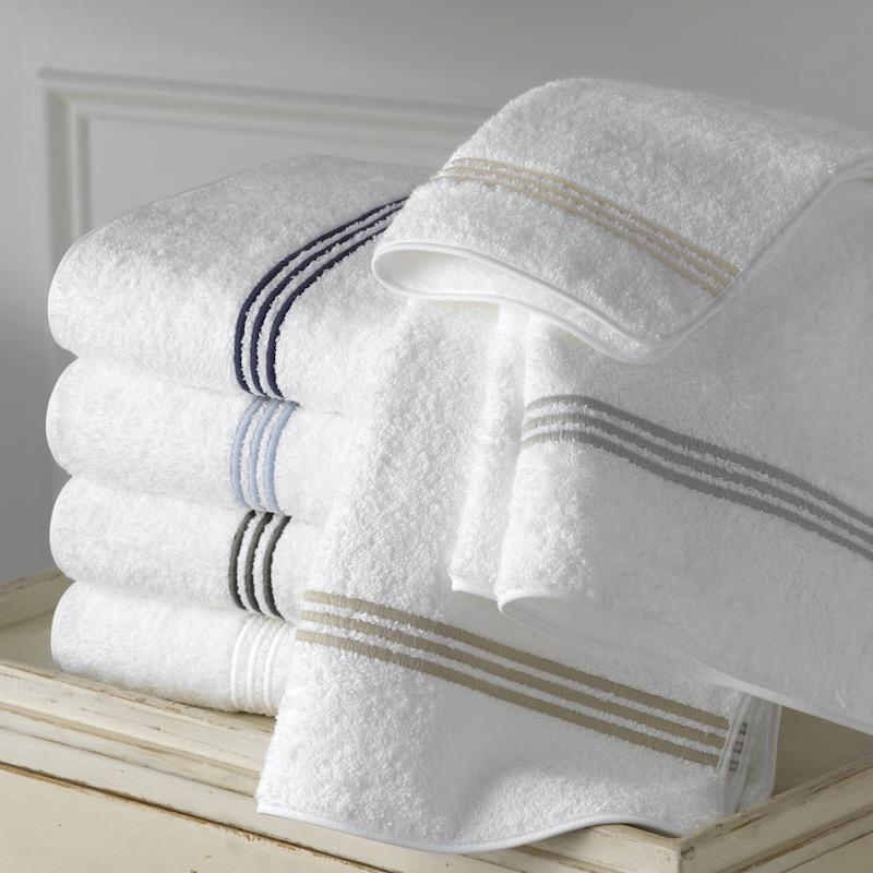 Bel Tempo 3-Line Embroidery Bath Towels | Matouk at Fig Linens