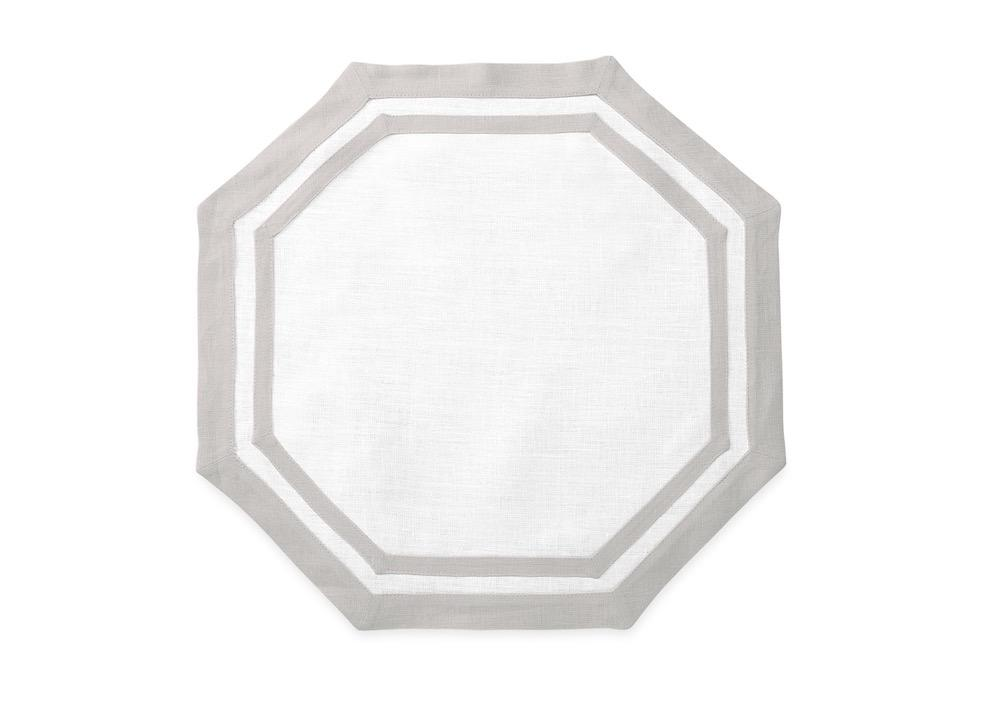 Matouk Table Linens | Casual Couture Octagonal Placemat in Classic Grey
