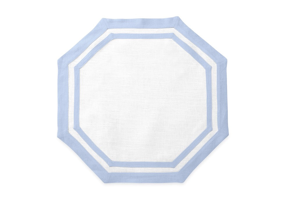 Matouk Table Linens | Casual Couture Octagonal Placemat in Ice Blue