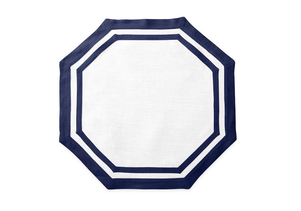 Matouk Table Linens | Casual Couture Octagonal Placemat in Sapphire Blue