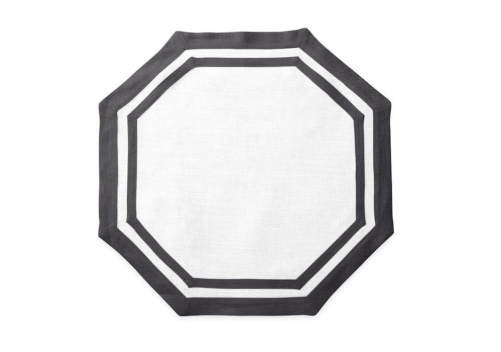 Matouk Table Linens | Casual Couture Octagonal Placemat in Smoke Grey