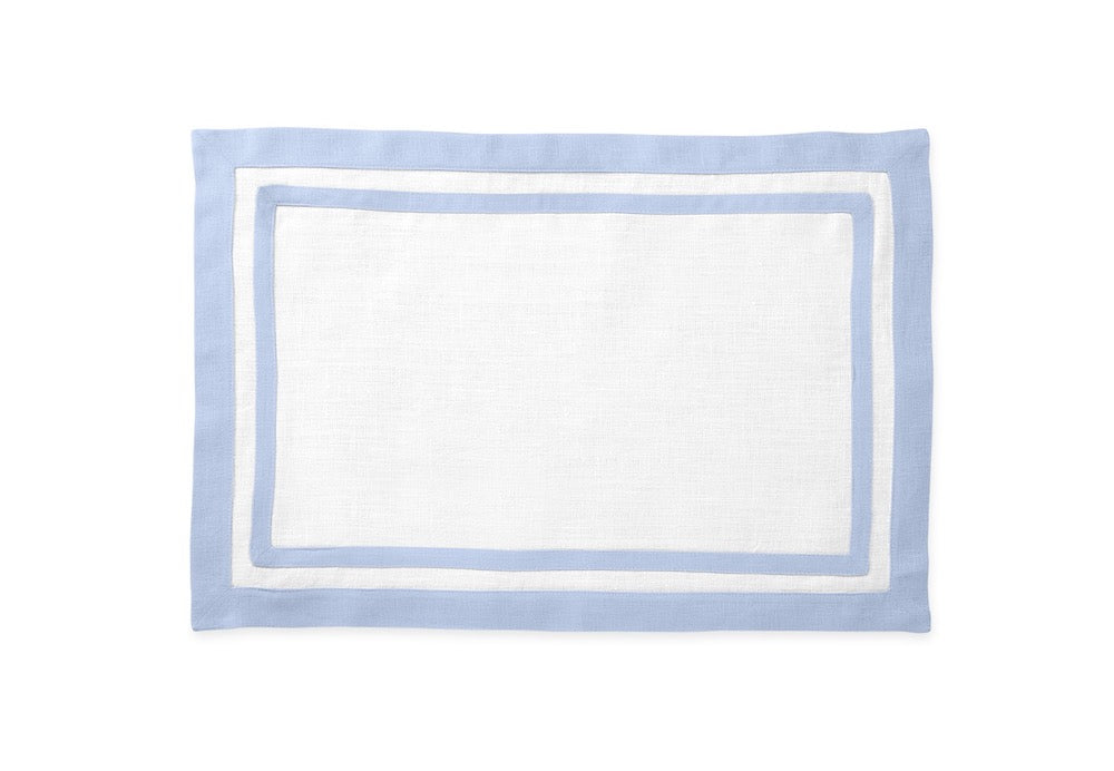 Matouk Table Linens | Casual Couture Rectangle Placemat in Ice Blue