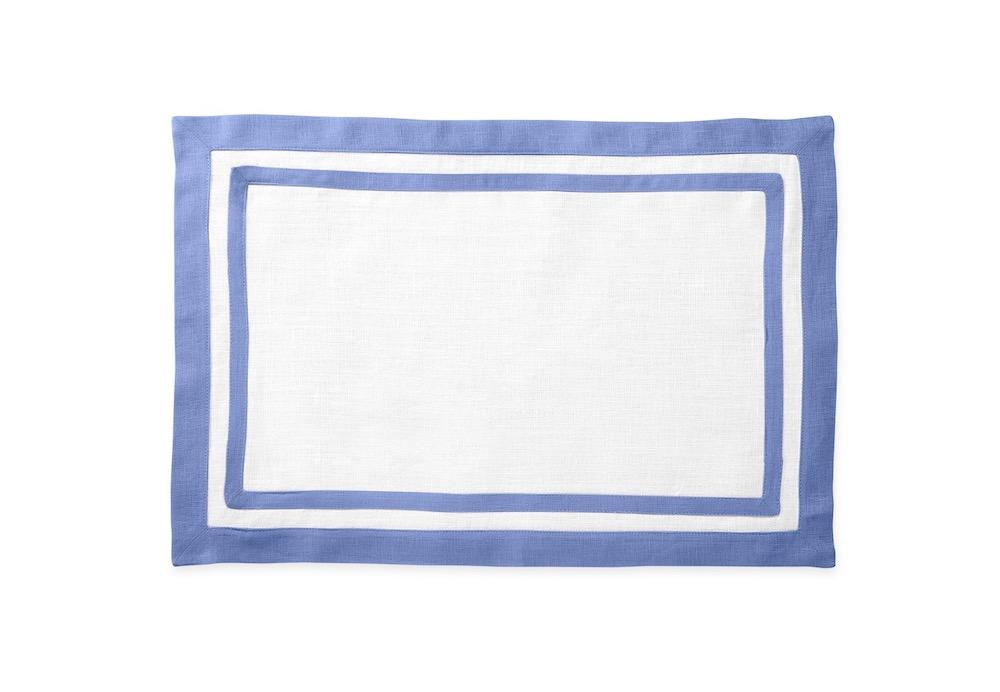 Matouk Table Linens | Casual Couture Rectangle Placemat in Sky Blue