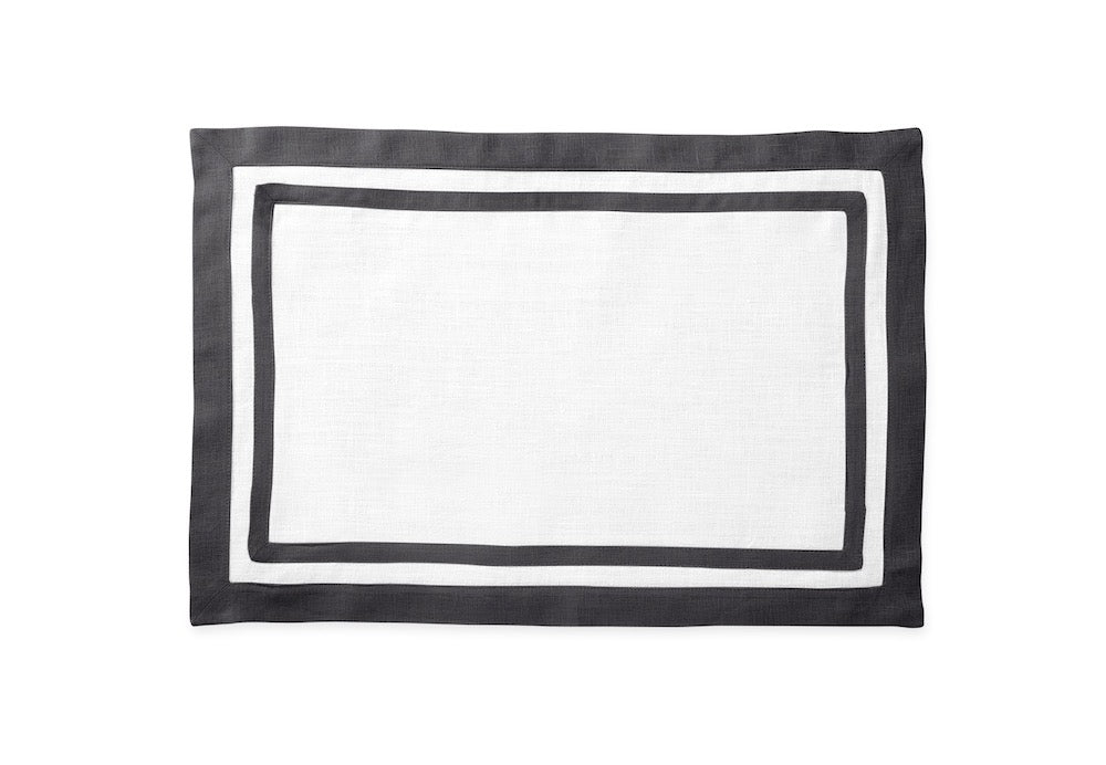 Matouk Table Linens | Casual Couture Rectangle Placemat in Smoke Grey