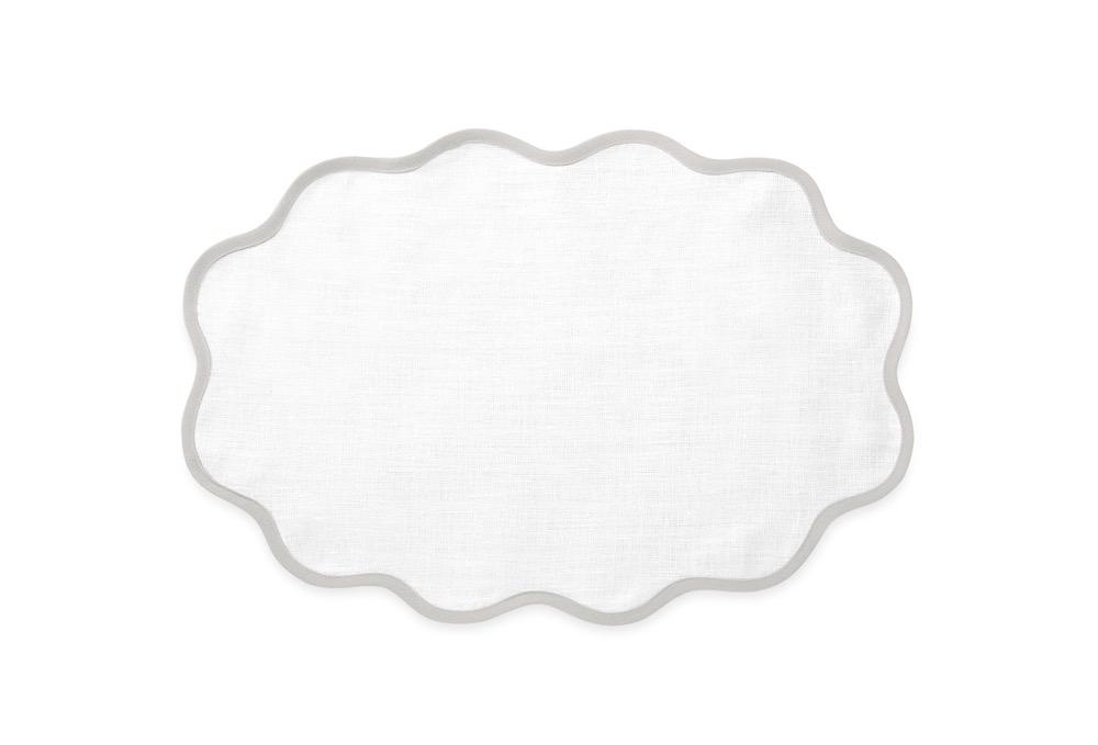 Matouk Table Linens | Casual Couture Scallop Placemat in Classic Grey