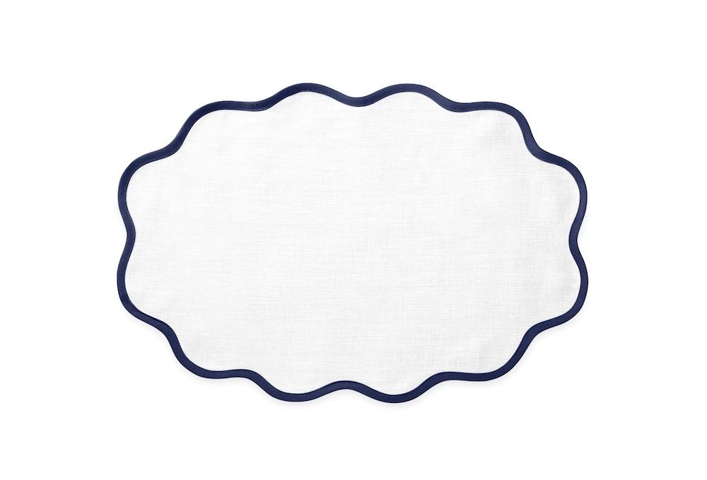 Matouk Table Linens | Casual Couture Scallop Placemat in Sapphire Blue