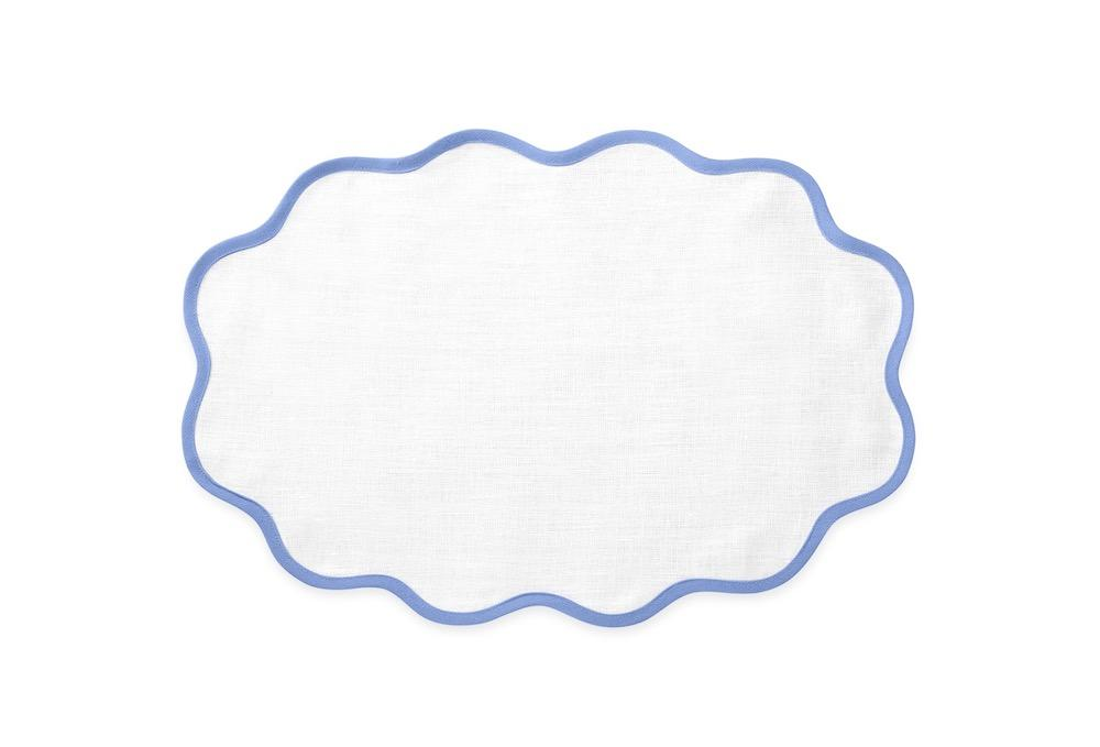 Matouk Table Linens | Casual Couture Scallop Placemat in Sky Blue
