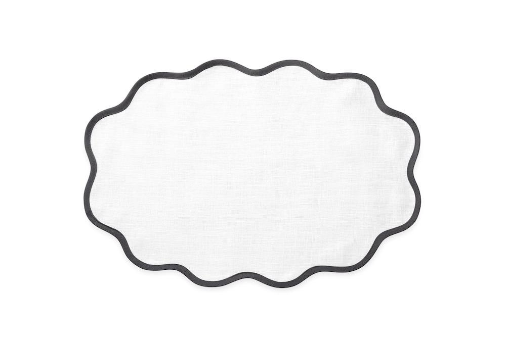 Matouk Table Linens | Casual Couture Scallop Placemat in Smoke Grey
