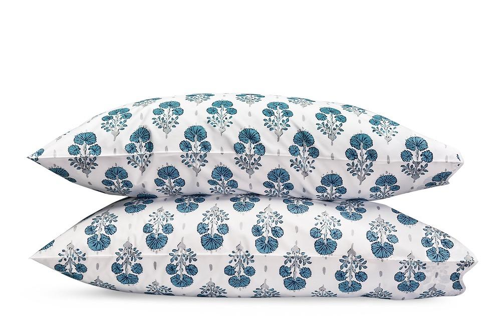 Joplin Mineral Blue Pillowcases | LULU DK Matouk at Fig Linens