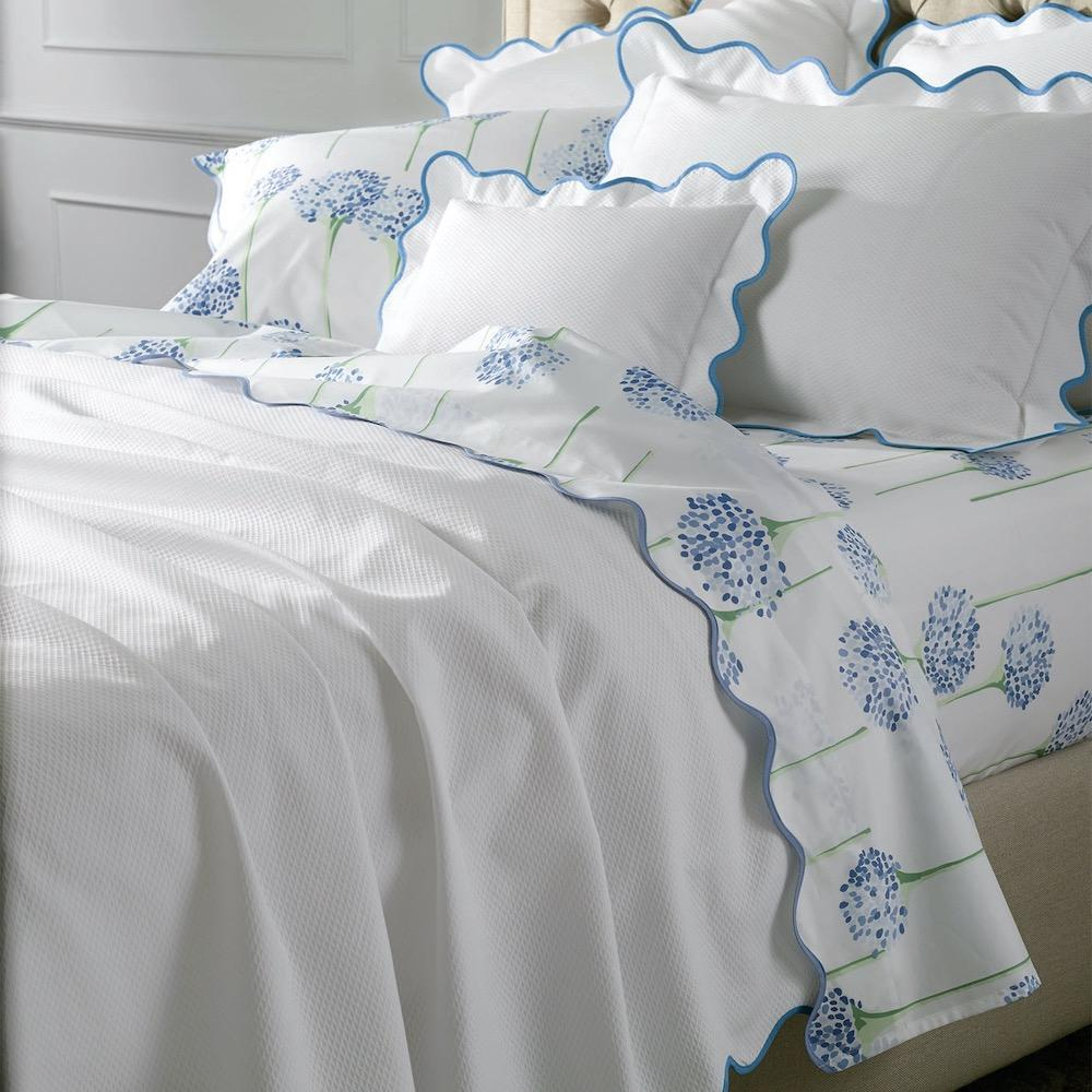Matouk Lanai Ocean Bedding Shown with Charlotte LULU DK