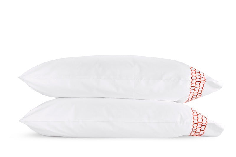 Matouk Liana Coral Pillowcases | Fig Linens