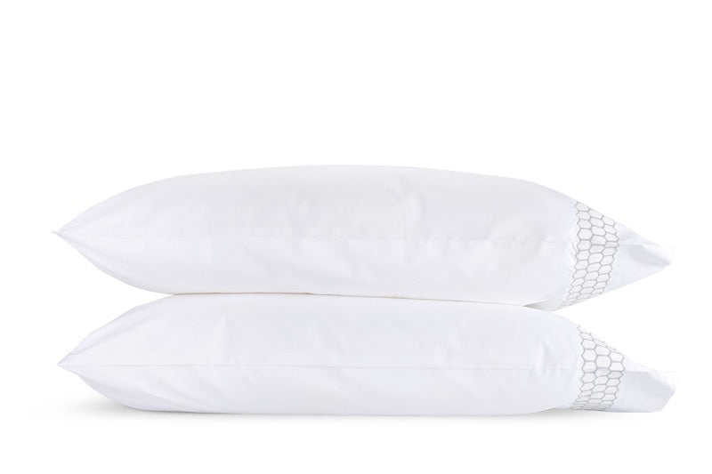 Matouk Liana Silver Pillowcases | Fig Linens
