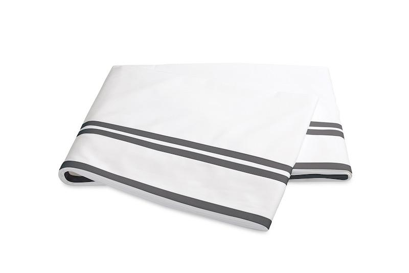 Matouk Meridian Charcoal Flat Sheet on Sierra Percale