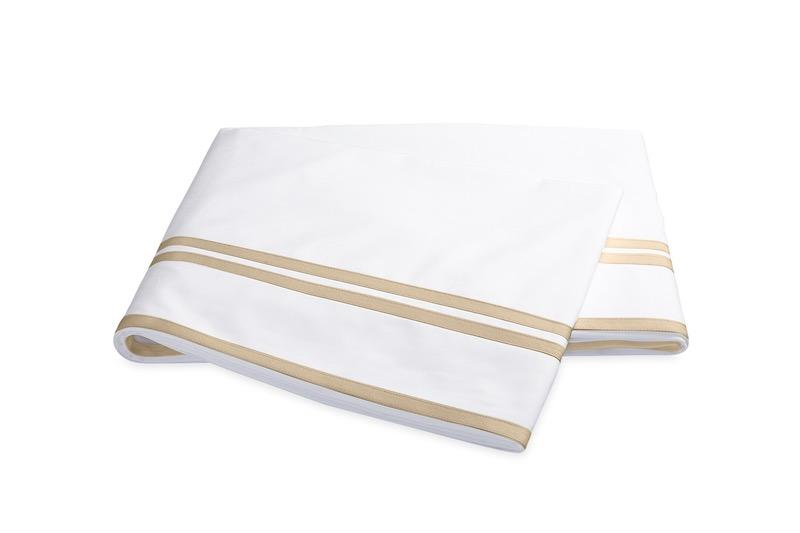 Matouk Meridian Linen Flat Sheet on Sierra Percale