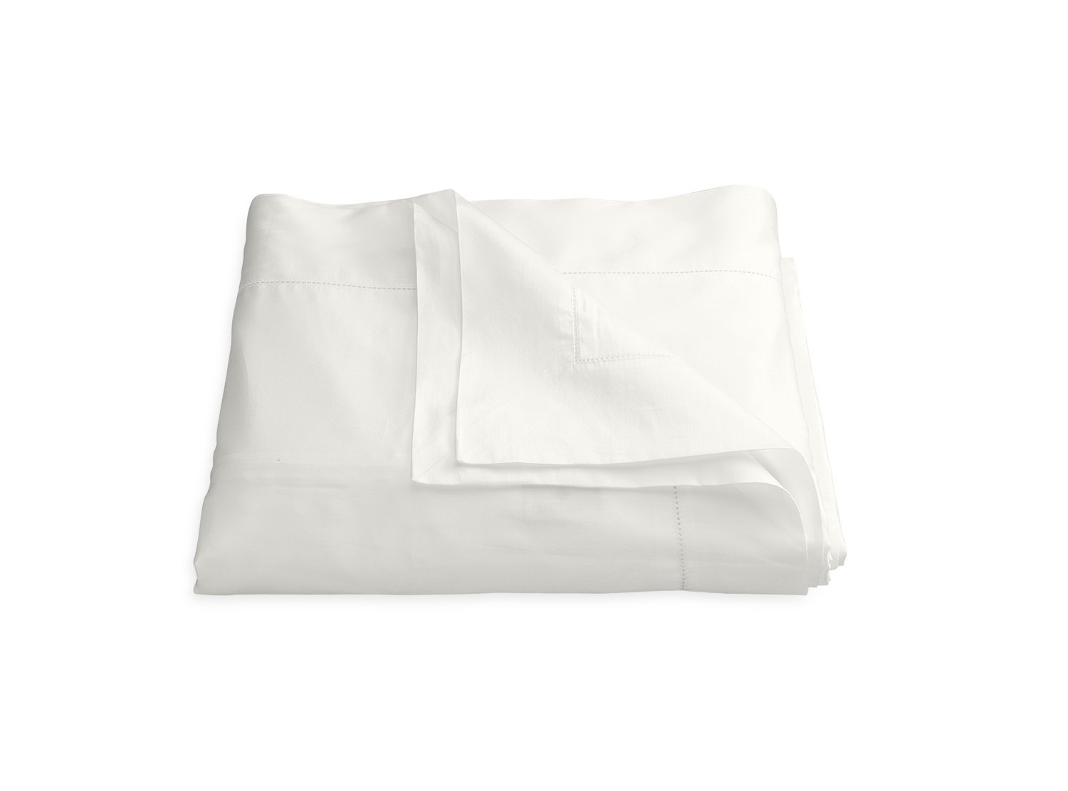 Nocturne Hemstitch Bone Duvet Cover | Matouk Sateen Bedding