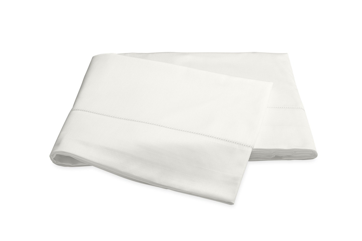 Nocturne Hemstitch Bone Flat Sheet | Matouk Sateen Bedding