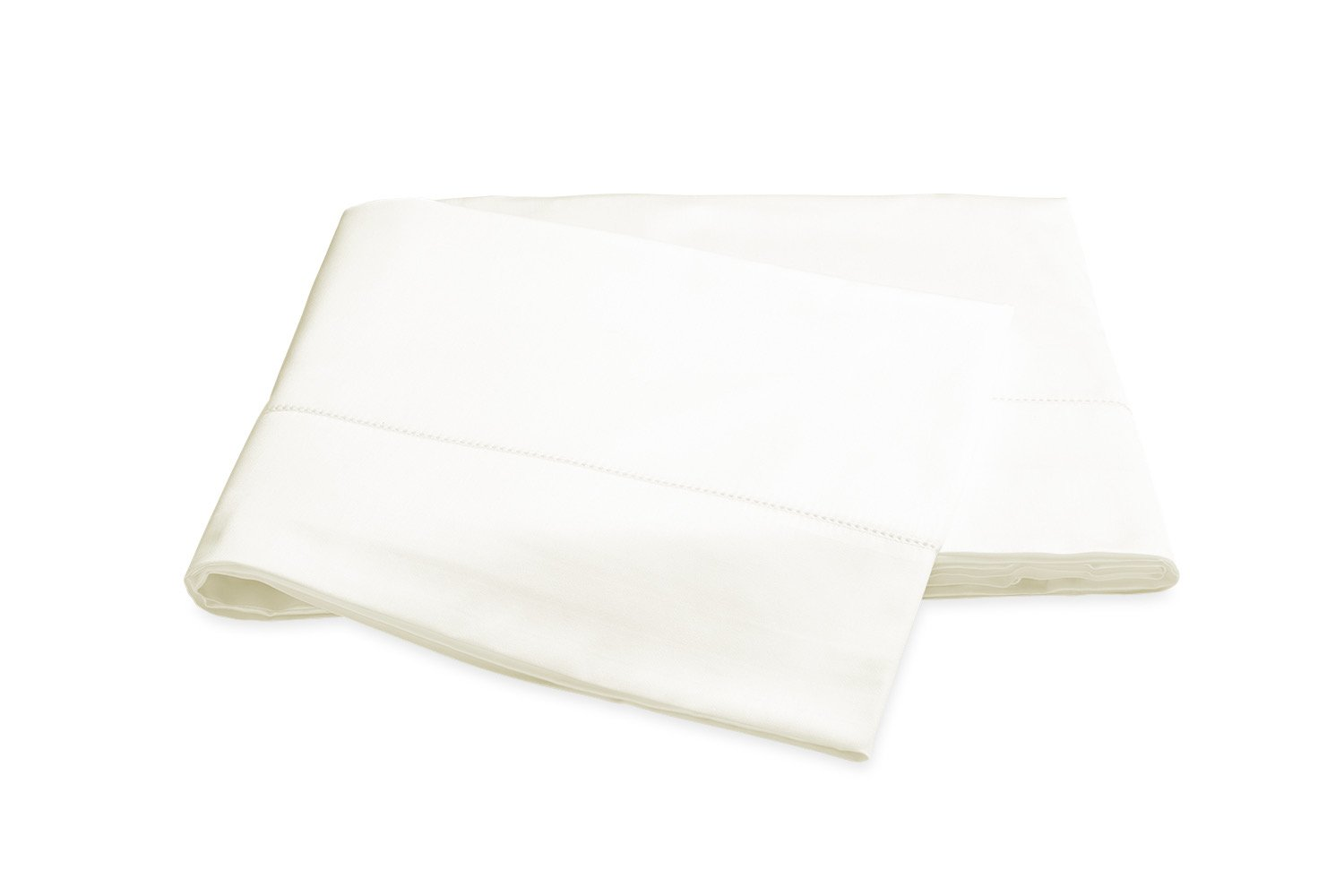 Nocturne Hemstitch Ivory Flat Sheet | Matouk Sateen Bedding