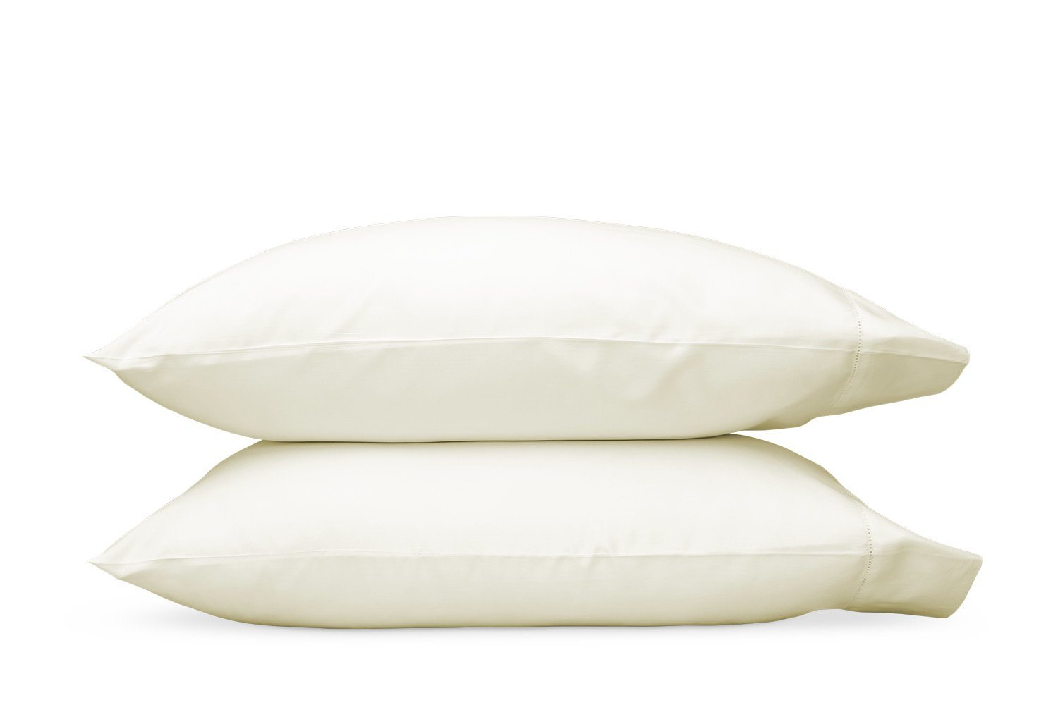 Nocturne Hemstitch Ivory Pillowcases | Matouk Sateen Bedding
