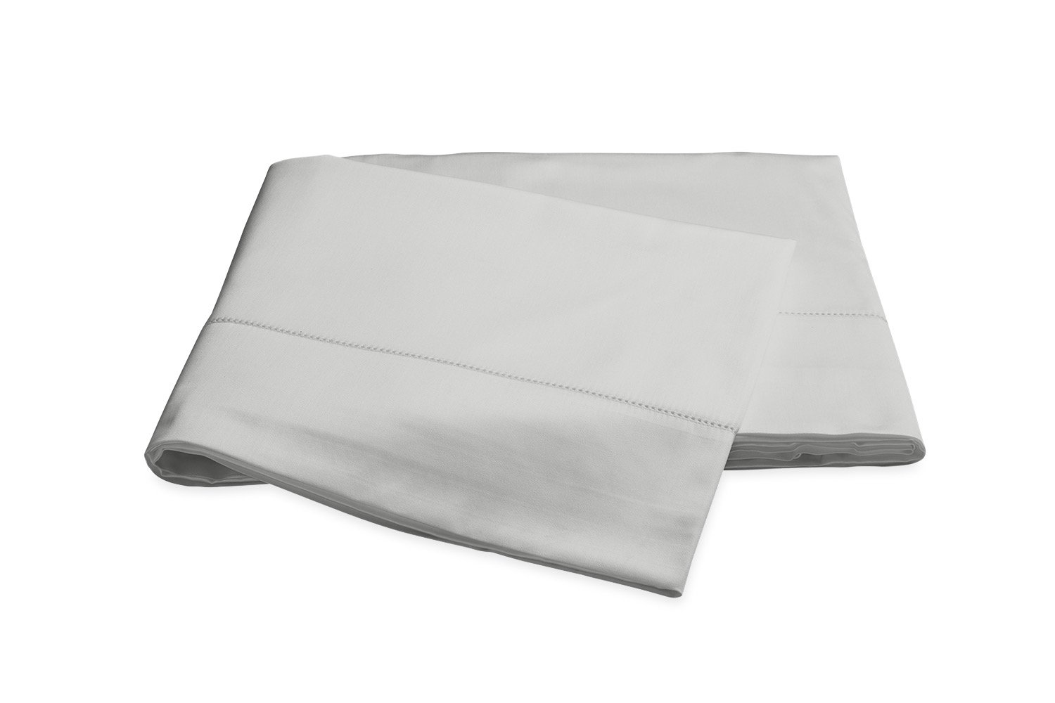Nocturne Hemstitch Silver Flat Sheet | Matouk Sateen Bedding
