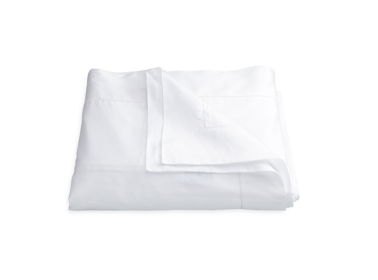 Nocturne Hemstitch White Duvet Cover | Matouk Sateen Bedding