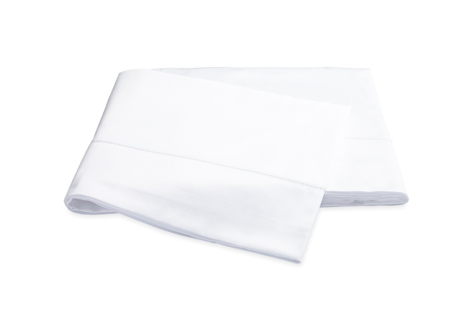 Nocturne Hemstitch White Flat Sheet | Matouk Sateen Bedding