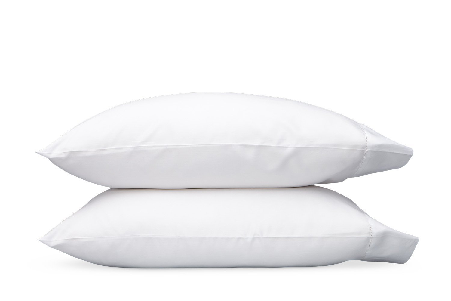 Nocturne Hemstitch White Pillowcases | Matouk Sateen Bedding