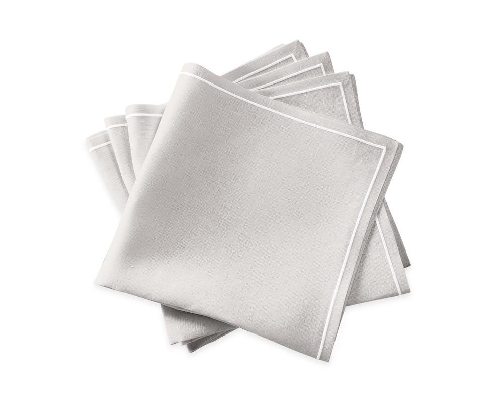 Matouk Napkins | Casual Couture Satin Stitch Napkin in Classic Grey