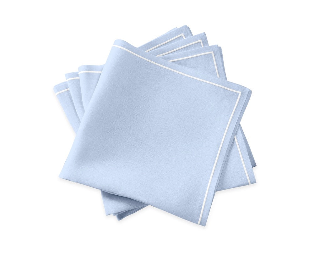 Matouk Satin Stitch Ice Blue Napkins | Casual Couture Table Linens