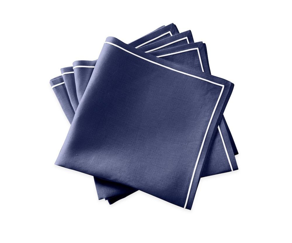 Matouk Napkins | Casual Couture Satin Stitch Napkin in Sapphire Blue