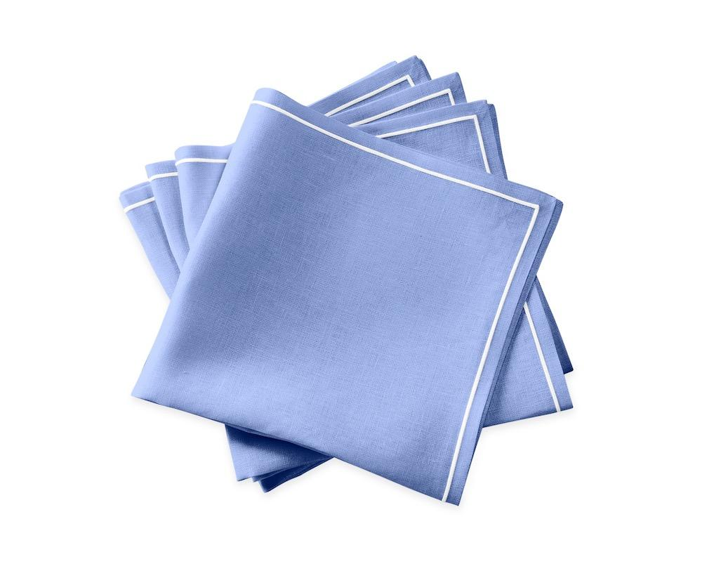 Matouk Satin Stitch Sky Blue Napkins | Casual Couture Table Linens